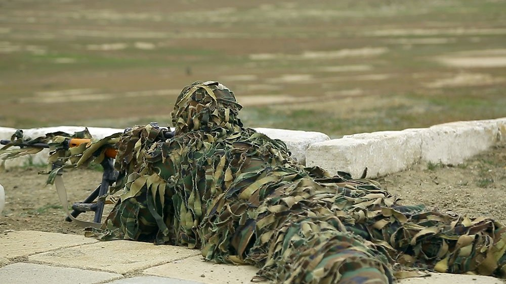 Sniper training is being inspected in the Azerbaijan Army